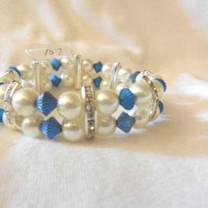 Multi Colored Beads Stretch Rhinestones Bracelet